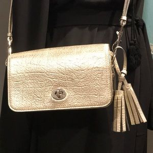 Coach Legacy metallic leather shoulder cross body